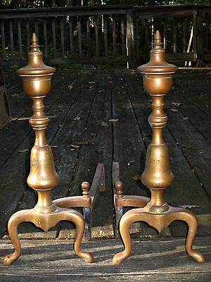 Antique 18th Century Federal Pair Brass Urn Top Fireplace Andirons 3