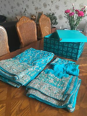 Indian Bridal Engagement Wedding Sari Blue Green Turquoise 3 Piece Dupatta Heavy 2