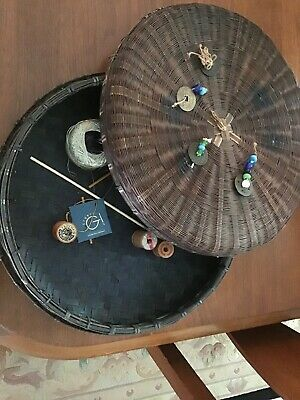 Vintage Antique Chinese Wicker Sewing Basket w/ Beads & Coins W/ Antique Spools 4