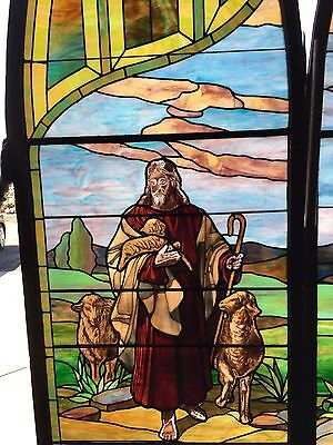 Antique Stained Glass 11 Foot Good Shepherd Window 3