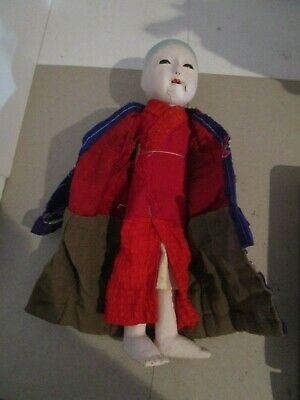 "Signed Antique 12"" Ichimatsu Gofun Paper Mache Oriental Doll - Circa 1890   #2 8"