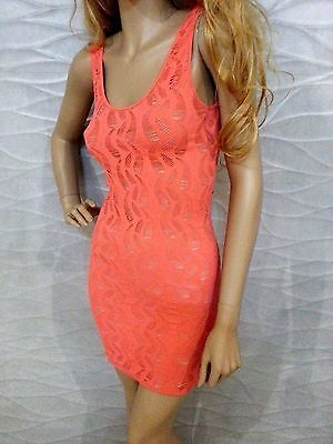 NWT bebe XXS XS S coral pink overlay lace slash back cutout bodycon  top dress 3