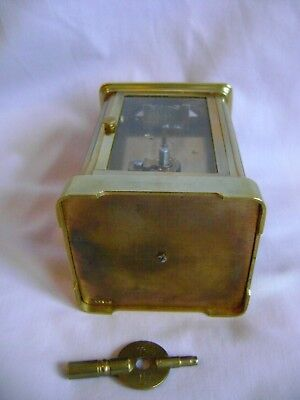Antique Margaine Timepiece Small Carriage Clock + Key In Good Working Order 9