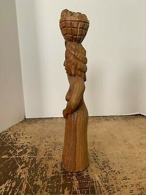 Vintage Hand Carved Wood Woman With Basket Of Fruit 4