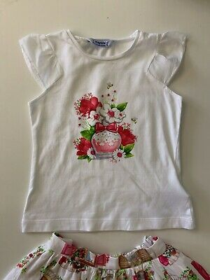 Mayoral Girls Outfit Set Skirt & T Shirt Age 3 Years  Vgc 2