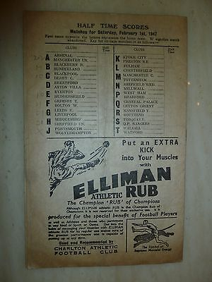 1946/47 Football Programme - CHARLTON ATHLETIC v CHELSEA - 1st February 3