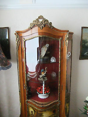 Antique bow fronted Vernis Martin Ormolu Display French Style Cabinet stunning - 5