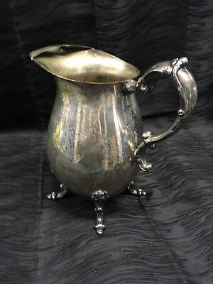 Vtg Sheridan Silver Plated on Copper Floral Feet Footed Lipped Water Pitcher 10