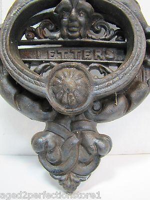 Vintage Cast Iron Figural Door Knocker Letters Mail Slot lrg ornate art nouveau 6