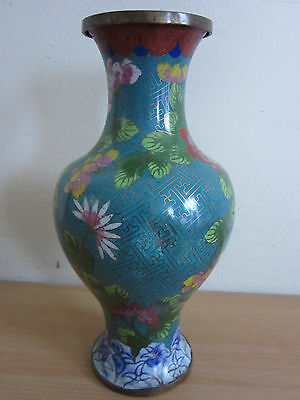 Antique Chinese Cloisonne Vase W Flowers Leaves 9 7500