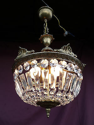 @  Lovely Vintage French Halllight Porchlight Sac A Perles With Glass Crystals 10