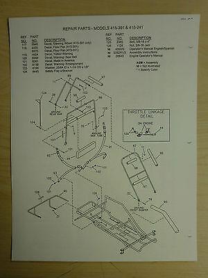 MANCO MODEL 415-391 415-241 Go Kart Parts List Operators Manual Cart