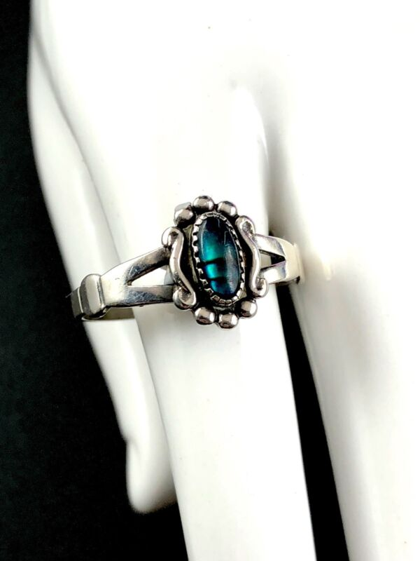 Striking Signed Wheeler Manufacturing Sterling Silver Paua Shell Accent Ring 2