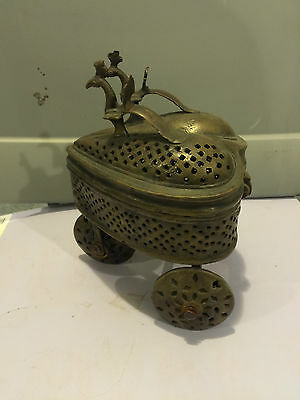 unknown ANTIQUE BRASS RELIGIOUS INCENSE TROLLEY  EUROPE 3