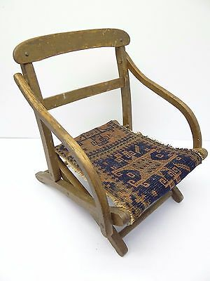Antique Wood Wooden Blue & Red Oriental Prayer Rug Seat Kids Childrens Chair 8