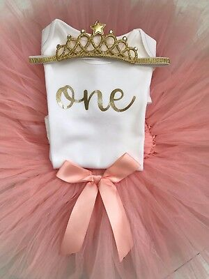 Luxury Girls 1st First Birthday Outfit Tutu Skirt Cake Smash Set Blush Tiara 2