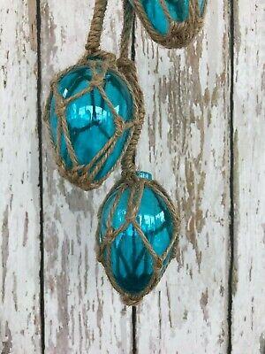(3) Small Oblong Aqua Glass Fishing Floats On Rope ~ Nautical Decor ~Light Blue 4
