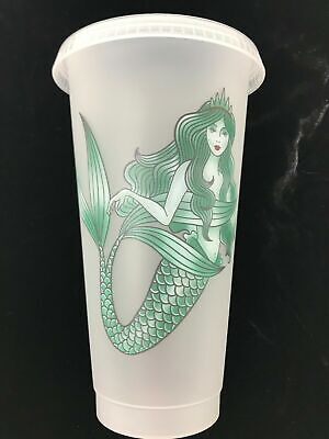 NEW Starbucks Mermaid Siren Cold Cup w/ Lid Straw  - Reusable Plastic Venti 24oz 3