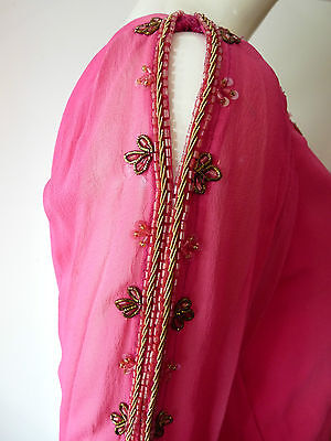 Asian Wedding Cerise Pink & Red Trouser Suit With Scarf   M   Ret £350   Bnwt 2