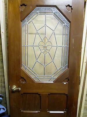 Exterior / Interior Solid Wood Door W/ Bevel & Textured Glass # 43 Fine Vintage 7
