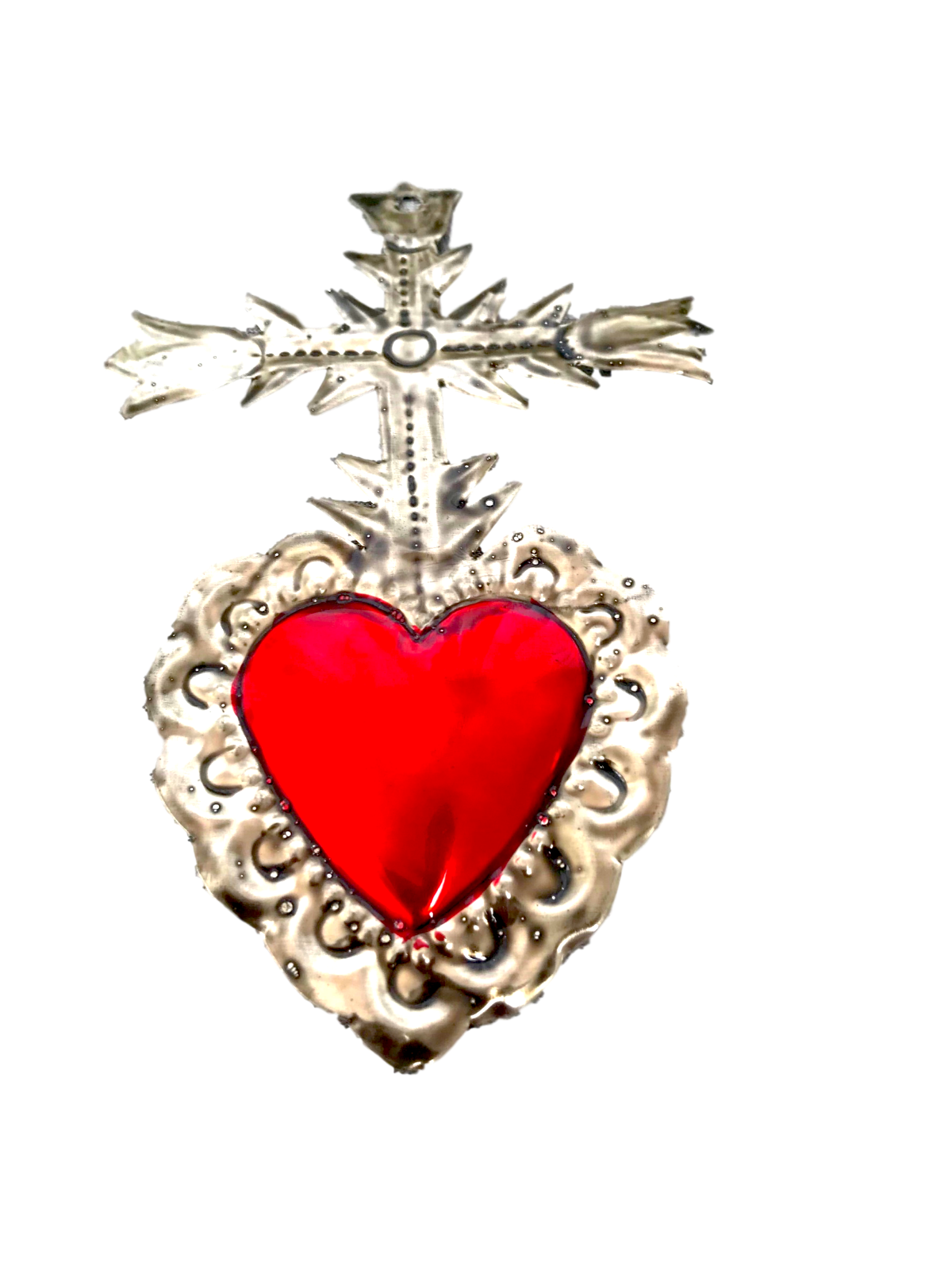 Milagros Charms - Tin Painted Sacred Heart Ornaments - Mexican Art (Set of 4) - 3