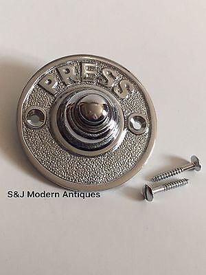 Round Door Bell Antique Mains Wire Vintage Push Button Chrome Victorian Doorbell 4