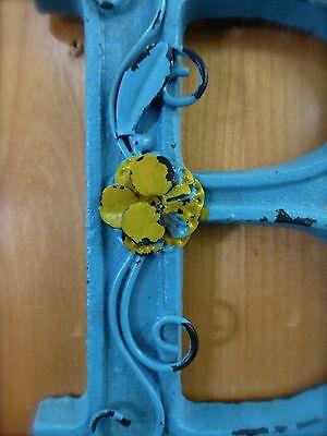"BLUE CAST IRON WALL LETTER ""B"" 6.5"" TALL rustic vintage decor sign barn nursery 4"