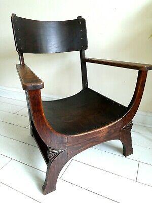 Rare Antique Arts & Crafts Oak Chair Liberty Style X frame bentwood Unique. 4