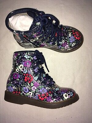 Next Kids Girls Floral Zips & lace Up Ankle Boots Uk 8 Eur 25.5 2