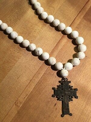 Unique White Turquoise Bead Necklace With Authenticated Ancient Byzantine Cross 2