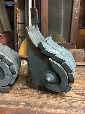 """c1850/60 pair hand carved corbel brackets roof eave elements 24x14x10"""" *AS IS* 6"""