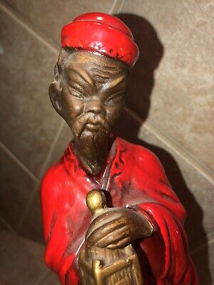 Vintage Asian Oriental Far East Figurines Man And Woman Glossy Red Robes - Rare! 5