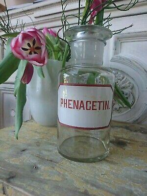 Apotheker antik Glas Flasche Apothekerflasche Etikett gemalt super als Vase 2