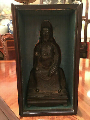 A Chinese Ming Dynasty Bronze Statue with Original Wooden Stand and Zitan Box. 2