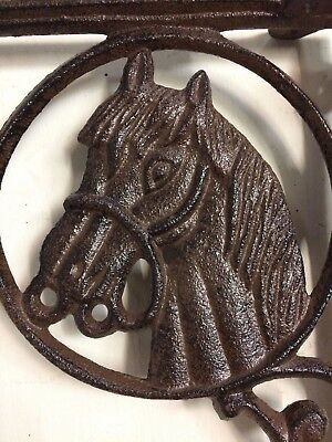 SET OF 4 WESTERN HORSE HEAD SHELF BRACKET BRACE, Rustic Brown Finish cast iron 2