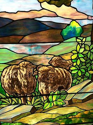 Antique Stained Glass 11 Foot Good Shepherd Window 9