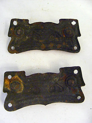 Lot of 2 Pressed Brass With Hearts Dresser Back Plates-1 Pull Missing - H0135 4