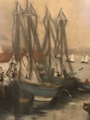 Vintage,Original Gouache/Opaque Water Paint Seascape Painting,At Portside, Large 5