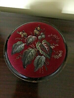 Antique Beadwork Tapestry Wooden Foot Stool 4