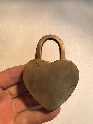 "HEART LOVE PADLOCK 3"" Vintage old stye 2 brass key lock engraved bridge heavy B 9"