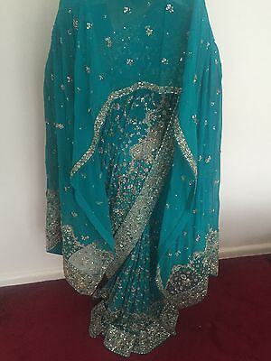 Indian Bridal Engagement Wedding Sari Blue Green Turquoise 3 Piece Dupatta Heavy 9