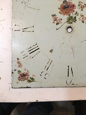 Antique Grandfather Clock Dial Painted Strawberries & Flowers Hanson Yaxley 12