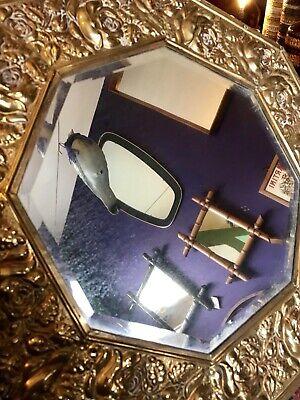 "Vintage Pressed Brass Floral Octagonal Framed Wall Mirror 16"" Decorative Antique 5"