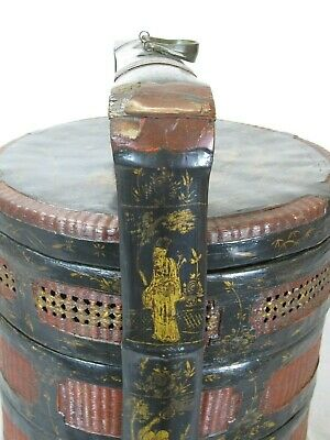Bamboo Food Basket with Hand Painted Handle 5
