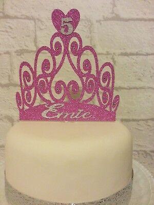 Admirable Personalised Princess Crown Tiara Birthday Cake Glitter Card Funny Birthday Cards Online Kookostrdamsfinfo