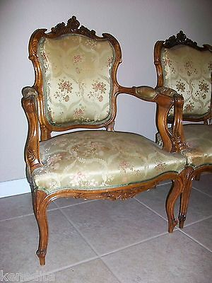 1900 Pair Antique French 2 Chairs Victorian Regency Parlor Fauteuil Louis XVII 2