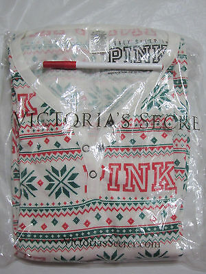 Victoria Secret Pink SNOWFLAKE THERMAL WAFFLE LONG JANE ONE PIECE PAJAMA L LARGE 5