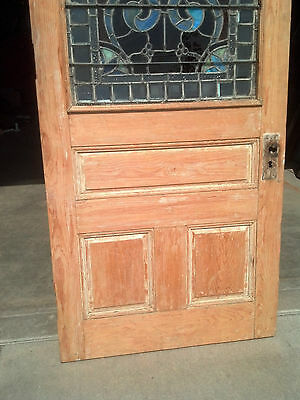 1/2 stained/beveled/jeweled stripped entrance door   (ED 4) 2