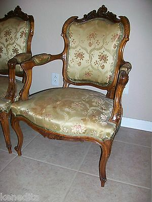 1900 Pair Antique French 2 Chairs Victorian Regency Parlor Fauteuil Louis XVII 3