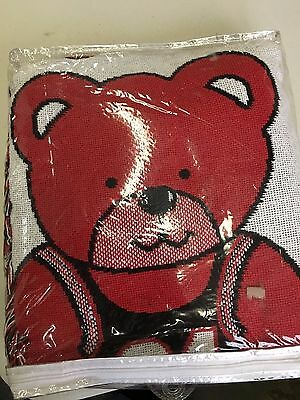 Brand New Vintage Chicago Bulls Baby Triple Woven Jacquard Blanket With Bear 6